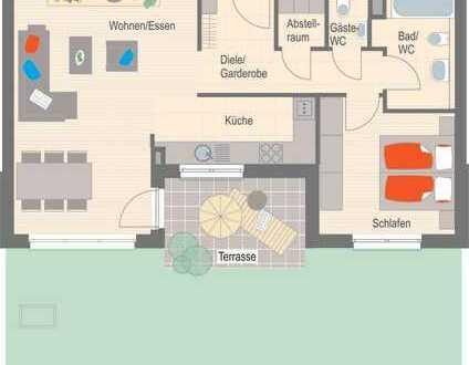 Sonnige 2,5 Zimmer Erdgeschosswohnung mit Terrasse und Garten - Erstbezug!