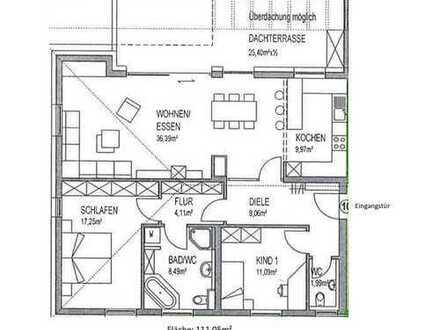 Exklusive, geräumige 3-Zimmer-Wohnung mit großer Dachterrasse und moderner EBK in Kempten
