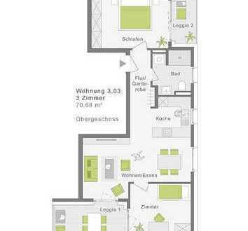 3-Zimmerwohnung mit 2 Loggien