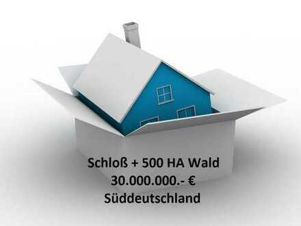 Schloß + 500 HA Wald im Süddeutschen und mit Nähe zu den Metropolen