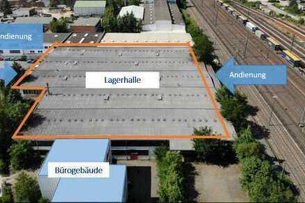 Nähe Messe und Autobahn: Logistikhalle mit intermodaler Schnittstelle und separatem Bürohaus