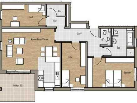Erstbezug: Schöne vier Zimmer Wohnung in Aschaffenburg, Leider in ruhiger Lage am Main