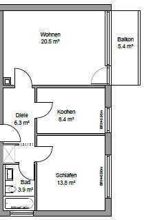 Erstbezug nach Kernsanierung- 2 Zimmerwohnung mit Balkon und EBK in Karlsruhe