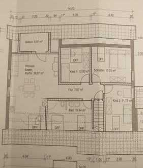 Schöne, geräumige vier Zimmer Wohnung mit überdachtem Balkon