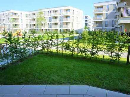 Erstbezug! Sehr schöne 1 Zimmer-Neubauwohnung mit Einbauküche und Garten, S-Bahn Nähe! Top!