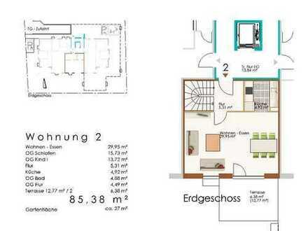 Maisonette 3 ZKB mit Garten und Terrasse, Whg 2
