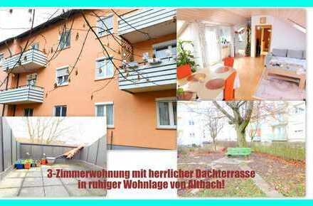 3-Zimmerwohnung mit herrlicher Dachterrasse und Stellplatz in ruhiger Lage von Altbach