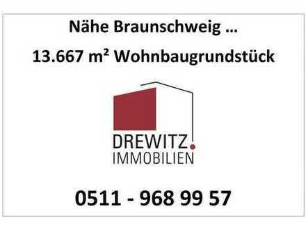 Braunschweig 15 km entfernt, 13.667 m² Baugrundstück (Abriss), B-Plan (WA), Bahn-Anschluss vor Ort