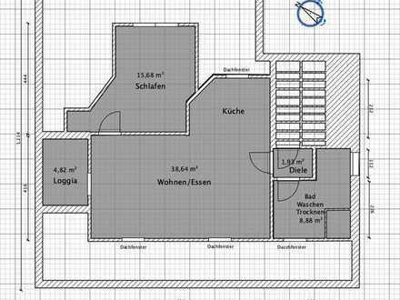 Dachgeschosswohnung mit Loggia-Erstbezug nach Sanierung
