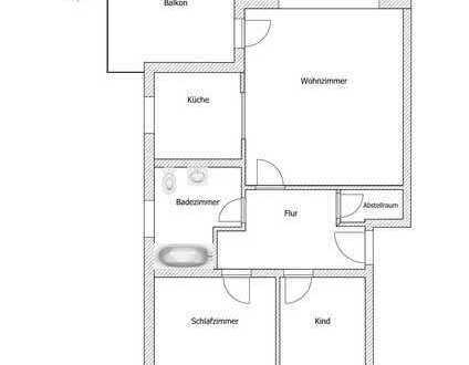 Gepflegte 3-Raum-Erdgeschosswohnung mit Balkon und Einbauküche in Neusatz