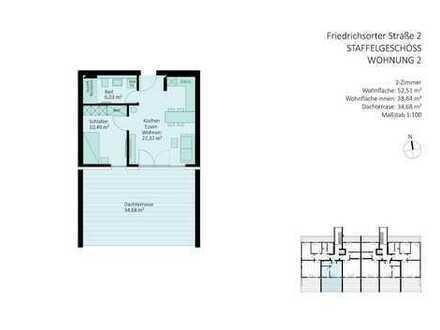 barrierefreie 2 Zimmer-Penthouse-Wohnung mit großzügiger Dachterrasse