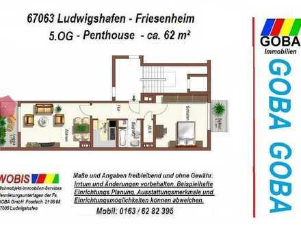 Lu Friesenheim Penthouse 01.08.21 od. früher/helle 2,0 ZKB 62 m² Wohn-/Arbeitsbereich/Loggia+ EBK