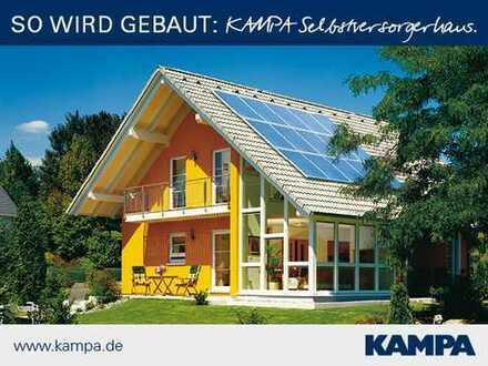 Schönes KAMPA-Haus auf 950 m² großem Grundstück: hier ist der Wintergarten gleich integriert!
