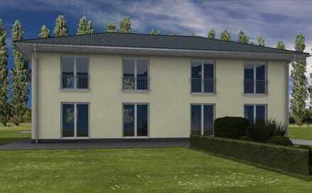 Neubau Doppelhaus in Eberswalde als KFW 55 Haus.