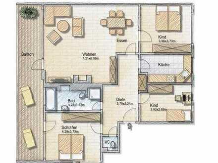 Sonnige 4 Zi.-Wohnung mit offenen Kamin und Balkon