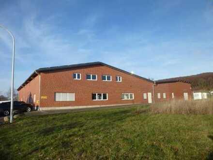 Gewerbehalle aufgeteilt in zwei Einheiten mit Bürobereich auf einem großen Grundstück