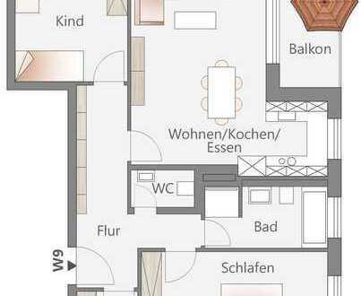 Großzügige 3-Zimmer-Wohnung mit Tageslichtbad