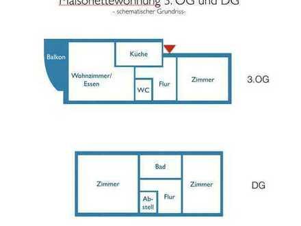 **Für Eigennutzer** 4,5-Raum-Maisonettewohnung mit Balkon und Tiefgaragenstellplatz.