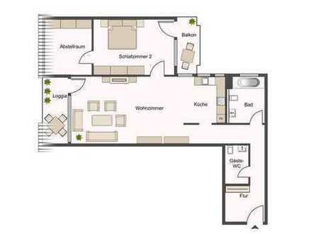 2 Zimmer Wg., interessant, mit Balkon