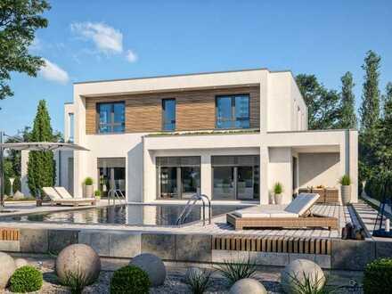 Luxuriös wohnen. Moderne Villa mit Blick ins Grüne.