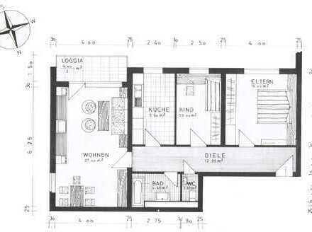 Schöne Drei-Zimmer-Wohnung in Heddesheim