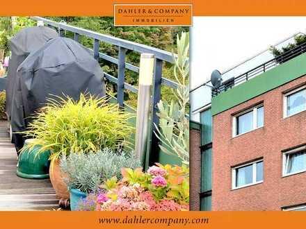 Helle, moderne Penthousewohnung mit Tiefgarage, uneinsehbarer Dachterrasse und Blick ins Grüne!