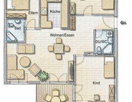 Zentral gelegene 4 Zi-Wohnung mit EBK, Balkon und TG-Stellplatz, sofort bezugsfrei!