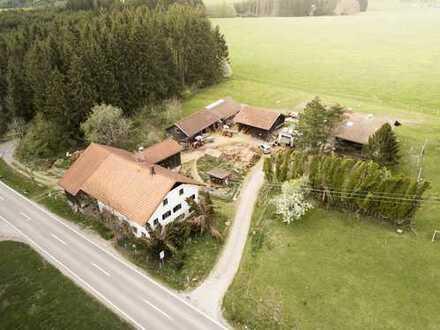 Alleinlage - Hofensemble mit 2 Wohnhäusern + Stallungen nahe Obergünzburg