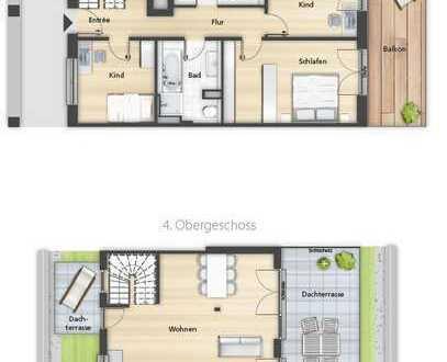 4 Zimmer Penthaus mit Dachterrasse + KFW FÖRDERUNG
