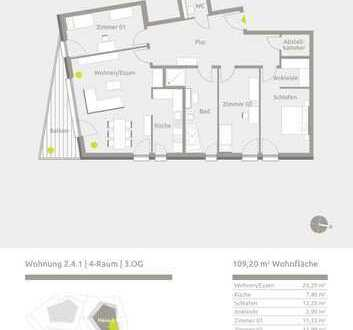 Attraktive 4-Raum-Wohnung mit Panoramablick