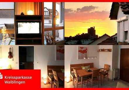 Über den Dächern von Weinstadt Großzügig geschnittene 4,5 Raum-DG-Wohnung in bester Lage !