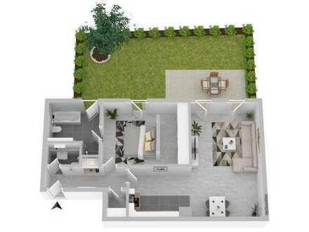 Neue 2 Zimmer Wohnung im EG mit Garten