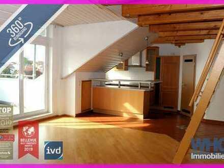 3,5-Zimmer-Dachgeschosswohnung mit ausgebauter Bühne und Fernsicht