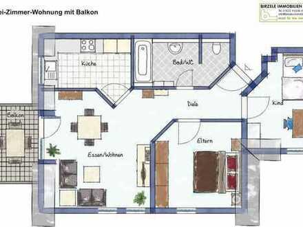 Mitten im Ort, 3 Zimmer, Balkon, TG, Hausmeisterservice