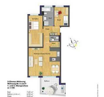 Attraktive, lichtdurchflutete 3-Zimmer Wohnung im 1.OG ( Haus 1 Whg. 6 )