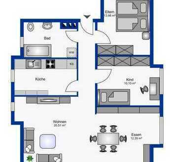 Schicke 3-Zimmer-Wohnung mit Balkon und eleganter Einbauküche in toller Stadtlage von Gifhorn.