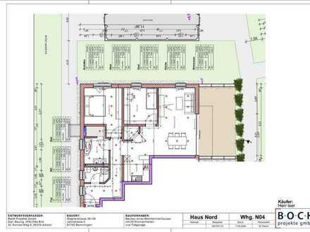 Erstbezug mit großer Terrasse (ca. 24 qm): stilvolle 3-Zimmer-Wohnung