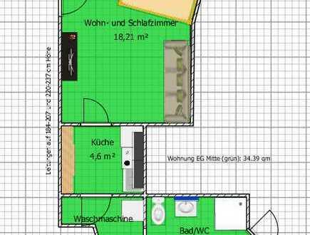 Erstbezug nach Sanierung: vollmöblierte 1-Zimmer-EG-Wohnung mit Einbauküche und Balkon in Starzach