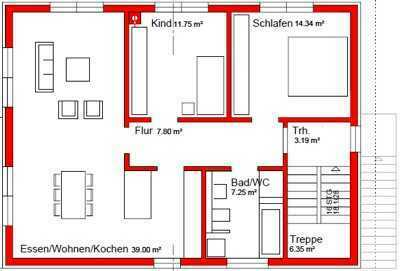 3 Zimmer Wohnung, 1. Etage inkl. Garagenstellplatz