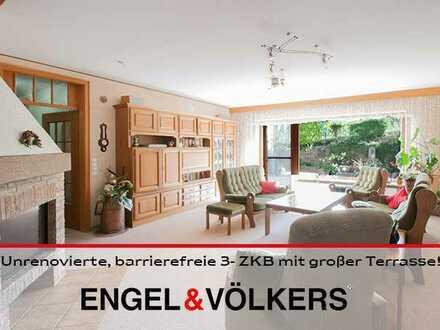 Unrenovierte, barrierefreie 3- ZKB mit großer Terrasse und separatem Büro!