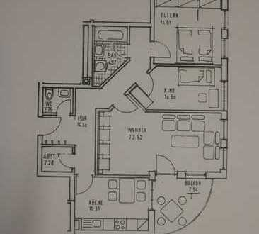 1 a Helle 3 Zimmer Wohnung mit großer Balkon-Terrasse