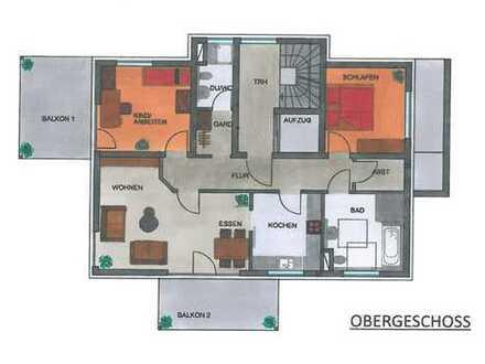 Erstbezug: 3-Zimmer-Obergeschosswohnung mit Balkon und Terrasse in Nüdlingen
