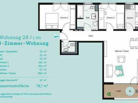 Exklusive 3-Zimmer-Wohnung im Mainzer Zollhafen zum Erstbezug