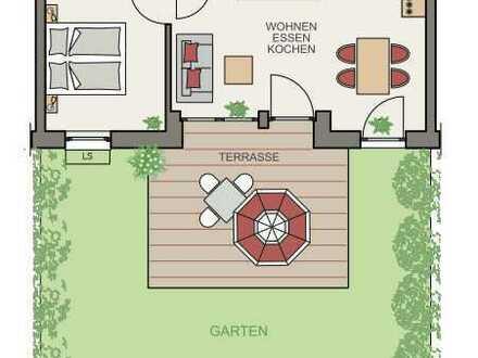 Erstbezug: Kleine feine 2-Zimmer-Erdgeschosswohnung mit Terrasse & Garten