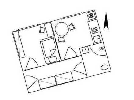 Gemütliche vollmöblierte Ein-Zimmer-Wohnung (36 qm, 290 € kalt, 388 € warm)