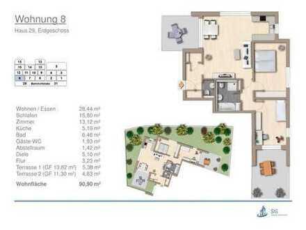 attraktive Neubau-Eigentumswohnung mit schönem Garten in Erdmannhausen