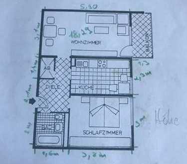 Stilvolle, modernisierte 2-Zimmer-Wohnung mit Balkon in Neuburg an der Donau