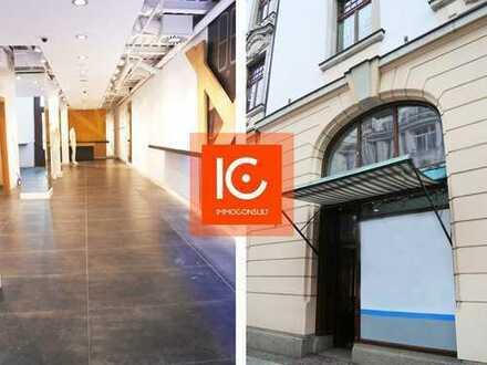 Ca. 196 m²große Ladenfläche auf zwei Ebenen, Deckenspots, Galerie, gute Lauflage, Klima vorh.