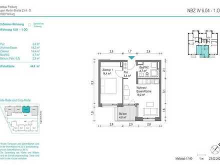 NEUBAU! Schöne 2-Zimmer-Wohnung (NBZ6.04) mit Balkon zum begrünten Innenhof