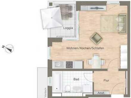 Kleine 1 Zimmer Wohnung mit Loggia